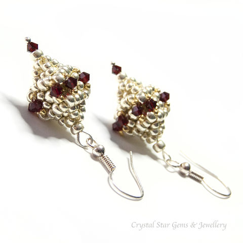 Garnet,Polyhedron,Earrings,earrings, garnet, swarovski crystal, polyhedron, hand made, beaded