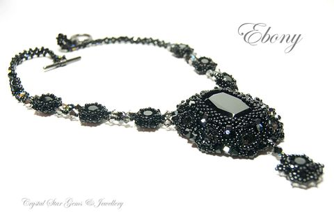 Ebony,Necklace,&,Earring,Set, black, Swarovski, necklace, necklace and earring set, jet, grey