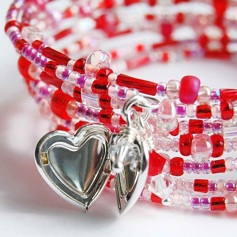 Red,Memory,Wire,Bracelet,red, memory wire, heart locket