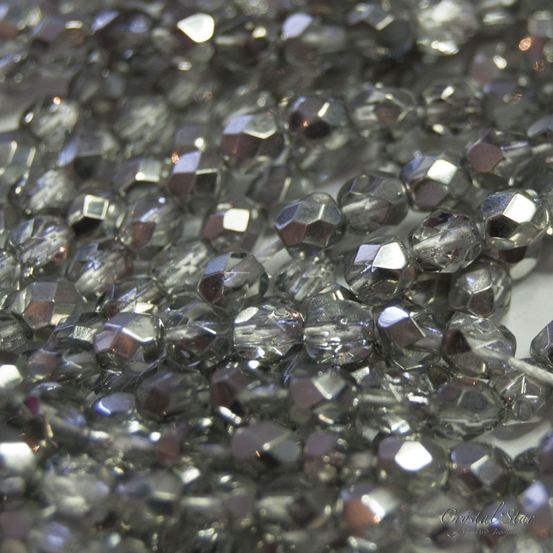 Czech Glass Faceted Fire Polish - Crystal Silver 2 Tone - 4mm - product images