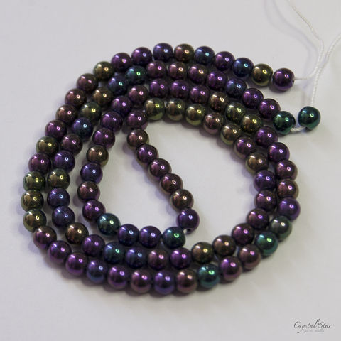 Czech,Glass,Druk,-,Purple,Iris,4mm,drum, round, 4mm, purple iris, bead, glass, czech