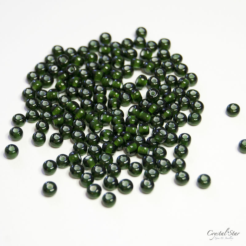 Czech Glass Seed Beads - No.6 - Dark Olive - product images