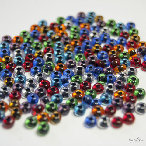 Czech,Glass,Seed,Beads,-,No.6,Black,Lined,Multi,Mix,seed beads, no.6, 6/0, black lined, multi mix, czech, glass