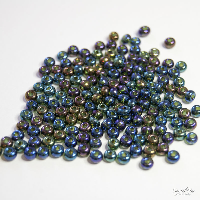 Czech Glass Seed Beads - No.6 - Jet AB - product images