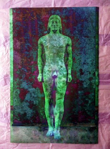 'Apparition',Giclee,Print,of,a,Greek,Kouros,Statue,giclee print, kouros statue, ancient Greece, mythology, classical history, figurative art, naked male art, wall art