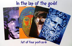 Set,of,Four,Postcards,-,In,the,Lap,Gods!,postcards, greek mythology, greek gods, colourful stationery, quality stationery, astraeus, oceanus, prometheus, zeus, digital imaginings