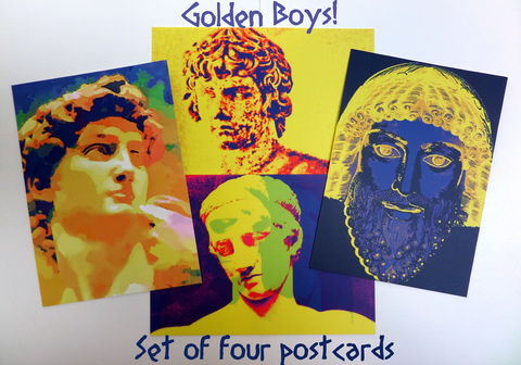 Set,of,Four,Postcards,-,Golden,Boys!,postcards, greek mythology, greek gods, colourful stationery, quality stationery, antinous, david, diadoumenos, zeus, digital imaginings