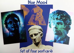 Set,of,Four,Postcards,-,Blue,Mood!,postcards, greek mythology, greek gods, ancient egypt, colourful stationery, quality stationery, youth of antikythera, diadoumenos, rameses, ramesses, ramses, rameses the great, zephyrus, digital imaginings