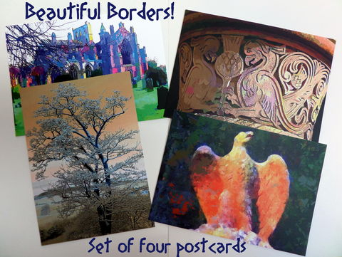 Set,of,Four,Postcards,-,Beautiful,Borders,postcards, scottish borders scenery, colourful stationery, quality stationery, melrose abbey, griffin capital, kelso abbey, roxburghe cloister, snowy sycamore, phoenix rising, digital imaginings