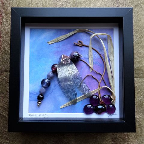 Beaded,Beasties,,Purple,Profile,Dragonfly,Box,Frame,beaded beasties, beaded insect art, beaded dragonfly, recycled art, box frame art, mixed media art, nature art