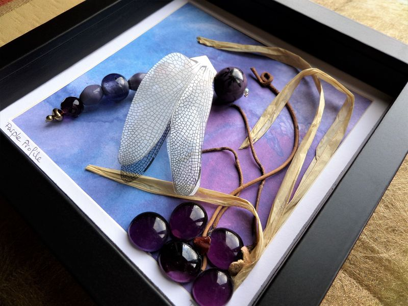 Beaded Beasties, Purple Profile Dragonfly Box Frame - product image