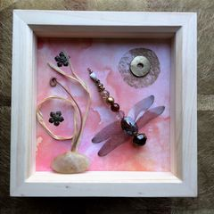 Peach,Glow,,Beaded,Beasties,Dragonfly,Box,Frame,beaded beasties, beaded dragonfly, beaded insect, box frame art, recycled art, nature, insect, mixed media art