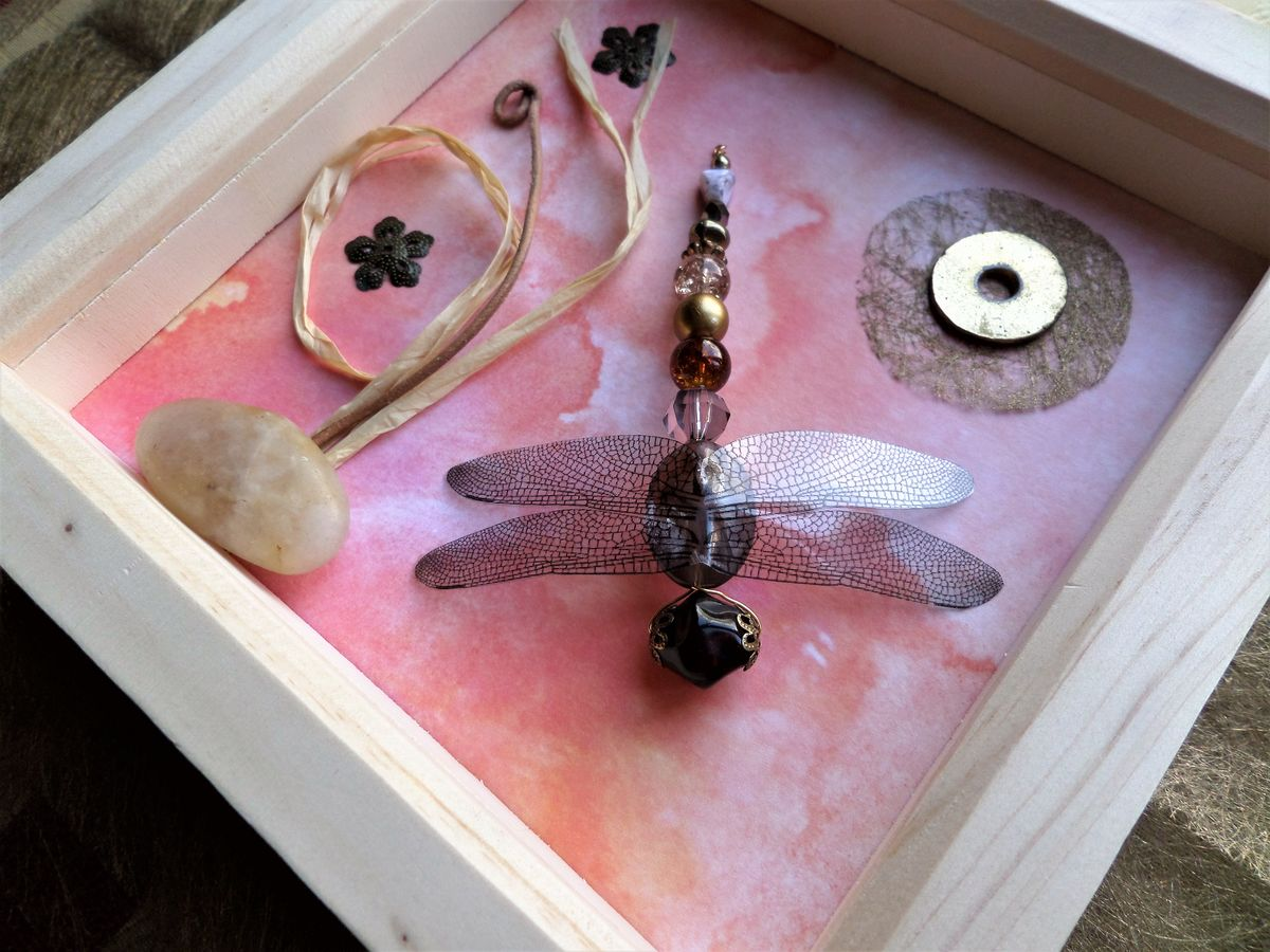 Peach Glow, Beaded Beasties Dragonfly Box Frame - product image