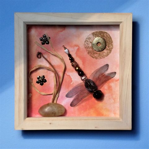 Peach Glow, Beaded Beasties Dragonfly Box Frame - product images 2 of 2