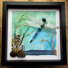 On,Azure,Wings,,Beaded,Beasties,Dragonfly,Box,Frame,the jewels of nature, beaded beasties, beaded insects, box frame art, wall art, shadow frame art, nature, insects, beaded art, the colour blue, dragonflies, dragonfly, recycled art