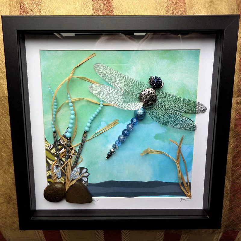 On Azure Wings, Beaded Beasties Dragonfly Box Frame - product image