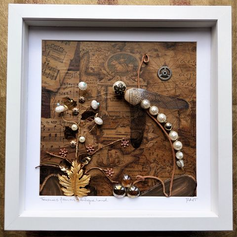 Antique,Land,,Beaded,Beasties,Damselfly,Box,Frame,antique style art, beaded beasties, beaded dragonfly, beaded damselfly, beaded insect, box frame art, shadow box art, insects, nature, recycled art