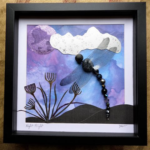 Night,Flight,,Beaded,Dragonfly,Box,Frame,beaded beasties, beaded dragonfly, beaded insect, bead art, the jewels of nature, box frame art, shadow box art, recycled art, nature, insects, mixed media art, nightscape art