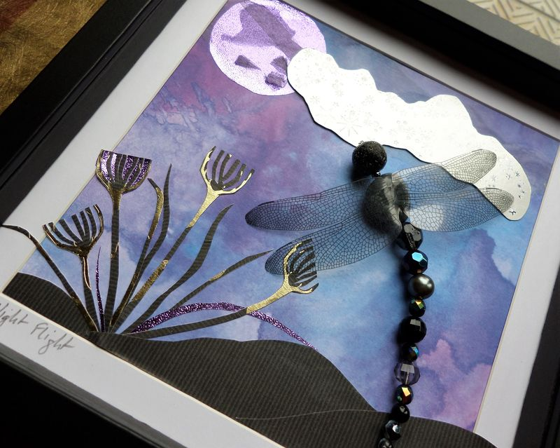 Night Flight, Beaded Dragonfly Box Frame - product image