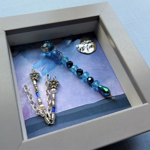 Beaded Beasties Turquoise Dragonfly Mini Box Frame - product images 1 of 2