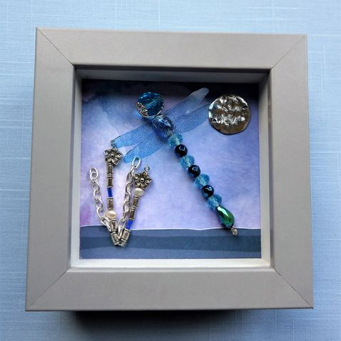 Beaded,Beasties,Turquoise,Dragonfly,Mini,Box,Frame,beaded beasties, beaded dragonfly, beaded insect, box frame art, shadow box art, the jewels of nature, mixed media,