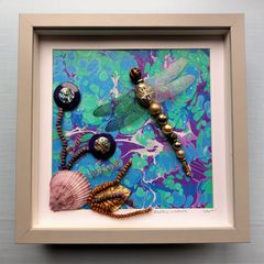 Exotic,Waters,,Beaded,Dragonfly,Box,Frame,beaded beasties, beaded dragonfly, beaded insect, box frame art, shadow box art, insects, nature, recycled art, coastal art, the jewels of nature