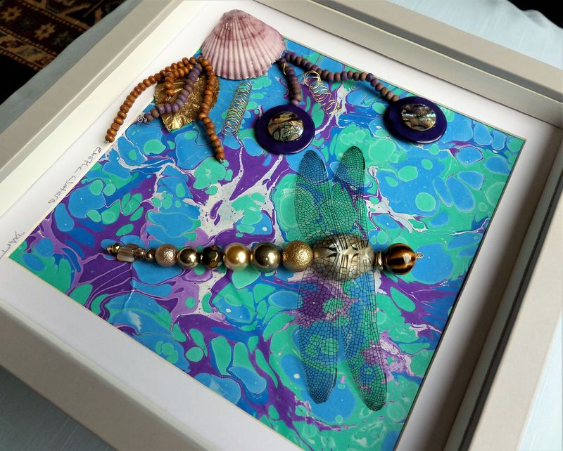 Exotic Waters, Beaded Dragonfly Box Frame - product image
