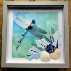 Maritime,Meanderings,,Beaded,Dragonfly,Box,Frame,beaded beasties, beaded dragonfly, beaded insect, box frame art, shadow box art, insects, nature, recycled art, coastal art, the jewels of nature