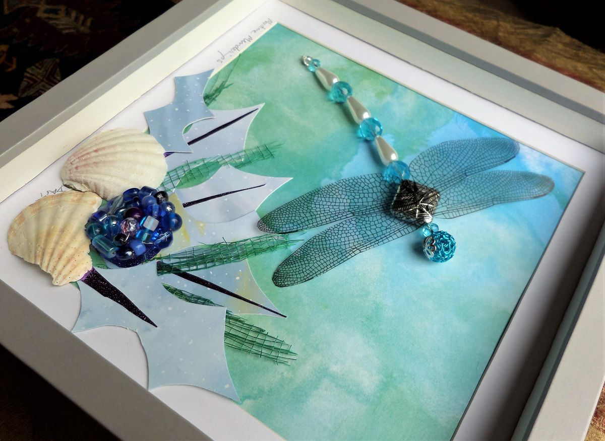 Maritime Meanderings, Beaded Dragonfly Box Frame - product images  of