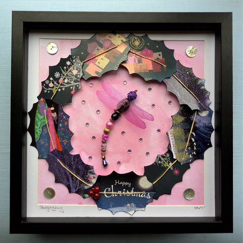 Stargazing,,Beaded,Dragonfly,Christmas,Box,Frame,beaded dragonfly, beaded insect, christmas decor, christmas decoration, christmas gift, beaded beasties, the jewels of nature, box frame art, shadow box art, recycled art, pink sparkle and shine
