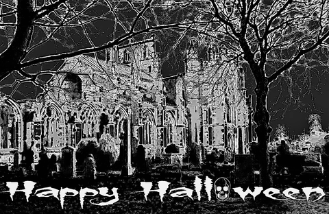 Spectral,Tombstones,Halloween,Card, halloween card, scary card, spooky card, skull card, greetings card, digitalimaginings, digital image, halloween image