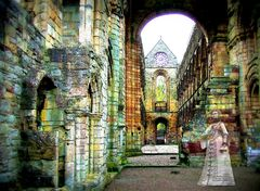 Old,Haunts,-,Mary,,Queen,of,Scots,in,Jedburgh,Abbey,Digital,Print,digital print, jedburgh abbey print, ghost of Mary Queen of Scots print, Mary Queen of Scots,