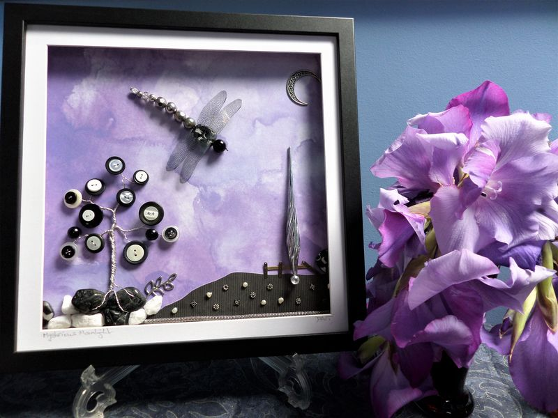 Mysterious Moonlight, Beaded Dragonfly Box Frame - product image