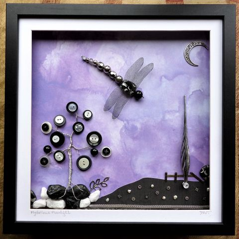 Mysterious,Moonlight,,Beaded,Dragonfly,Box,Frame,beaded beasties, beaded dragonfly, beaded insect, bead art, the jewels of nature, box frame art, shadow box art, recycled art, nature, insects, mixed media art, nightscape art