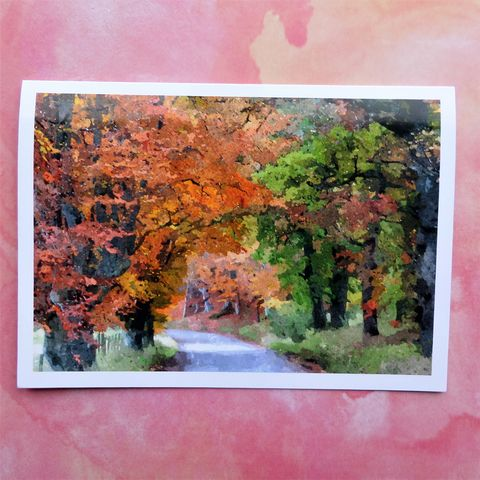 Autumn,in,Glenlivet,Greeting,Card,greeting card, autumn trees, autumn landscape, country lane, scottish highlands, autumn in glenlivet