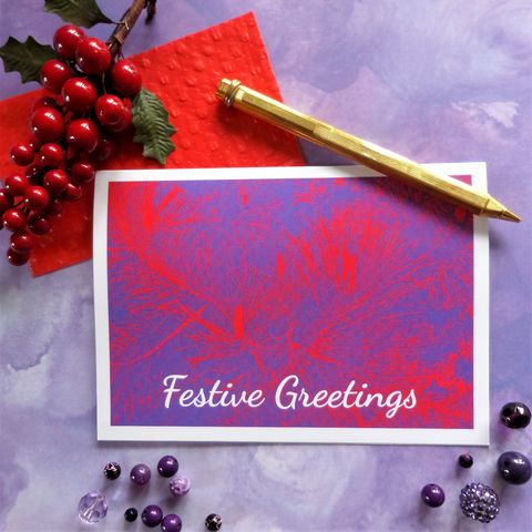 Purple,Pines,Christmas,Card,christmas card, greeting card, pine branches, red branches, festive greetings, fir tree branches, vibrant card design
