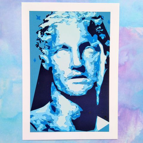 'Fragmentation',Abstract,Print,of,Man's,Head,digital print, ancient Greece, mythology, classical history, figurative art, male head and shoulders, wall art