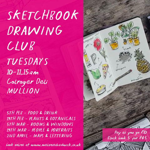 Sketchbook,Drawing,Club,|,5th,Feb,-2nd,April,workshop, adult, illustration, art class, sketchworkshop, cornwall, mullion