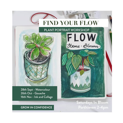 Find,your,Flow,|,Plant,Portrait,Workshops,workshop, adult, illustration, art class, sketchworkshop, cornwall, porthleven