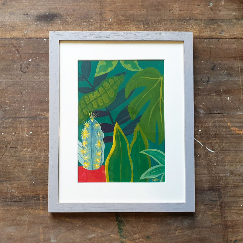 Cactus Jungle-Original 24x30cm Painting - by Melanie Chadwick  - product images  of