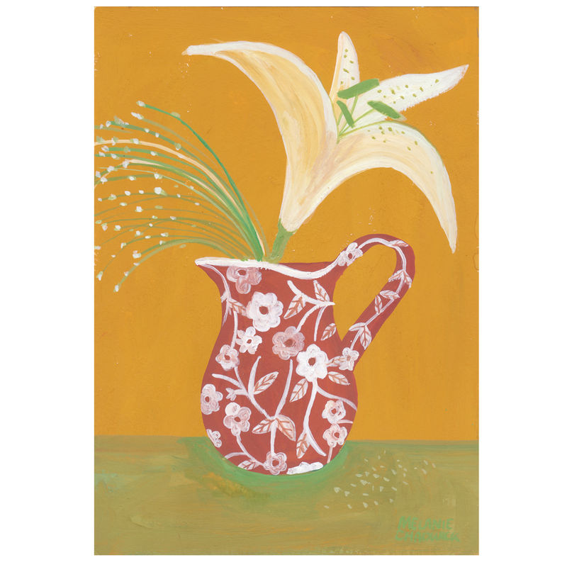Lily in brown jug-Original 24x30cm Painting - by Melanie Chadwick  - product images  of