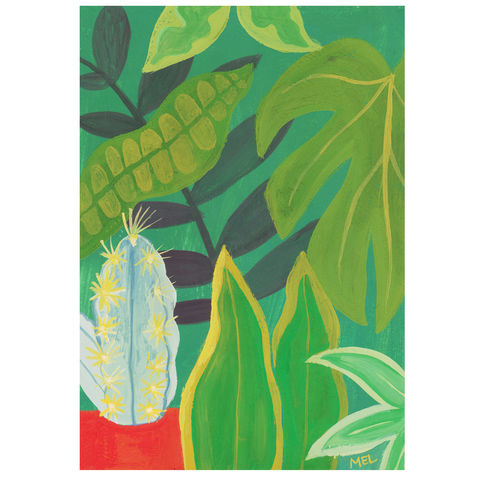 Cactus,Jungle-Original,24x30cm,Painting,-,by,Melanie,Chadwick,gouache painting, original, cactus,