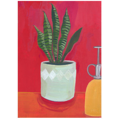 Red,room-Original,24x30cm,Painting,-,by,Melanie,Chadwick,gouache painting, original, lily, melanie chadwick, still life, plant, jug, red room