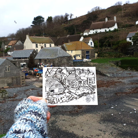 #2,Cadgwith,,Lizard,|,Postcard,Project,original art, affordable art, mini art, postcard art, lizard, poldhu, art project, cornwall, artist, cornish art