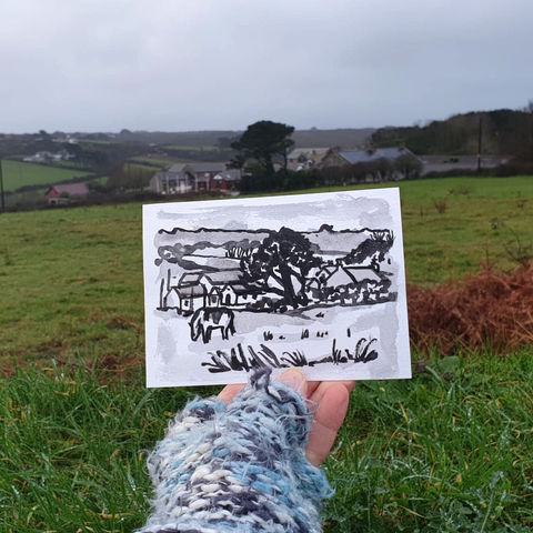 #3,Green,Field,,Mullion,,Lizard,|,Postcard,Project,original art, affordable art, mini art, postcard art, lizard, art project, cornwall, artist, cornish art, mullion