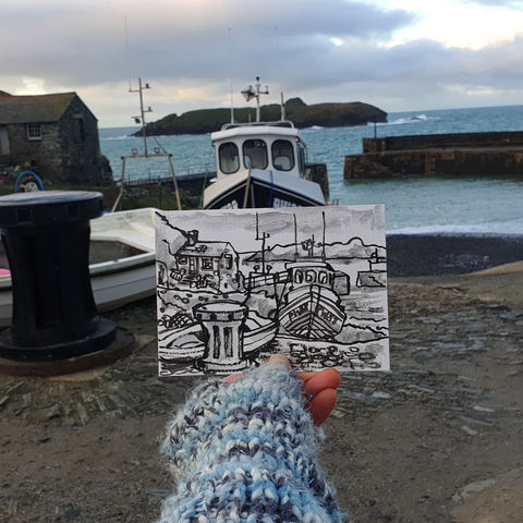 #4,Mullion,Cove,,Lizard,|,Postcard,Project,original art, affordable art, mini art, postcard art, lizard, art project, cornwall, artist, cornish art, mullion