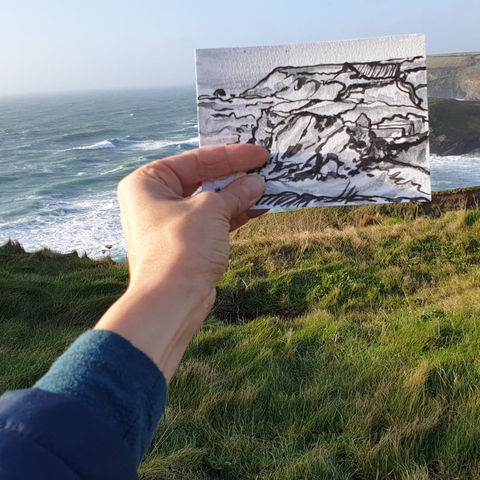 #6,Church,Cove,,Gunwalloe,|,Postcard,Project,original art, affordable art, mini art, postcard art, the lizard, art project, cornwall, artist, cornish art, poltesco