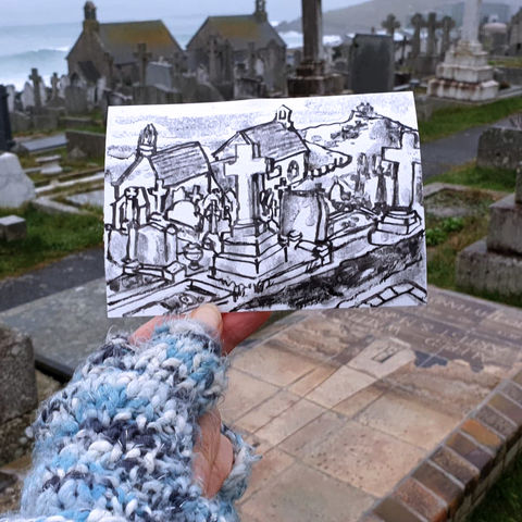 #8,Alfred,Wallis,Grave,Site,,St.,Ives,|,Postcard,Project,st. ives, alfred wallis graveyard, arthur wallis, original art, affordable art, mini art, postcard art, the lizard, art project, cornwall, artist, cornish art, poltesco
