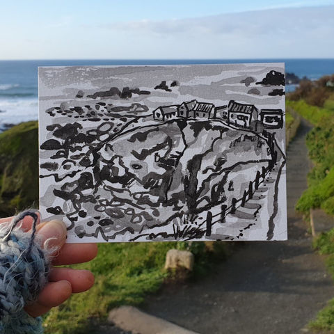 #10,Polpeor,,Lizard,Point,|,Postcard,Project,polpeor, lizard point, original art, affordable art, mini art, postcard art, the lizard, art project, cornwall, artist, cornish art, poltesco