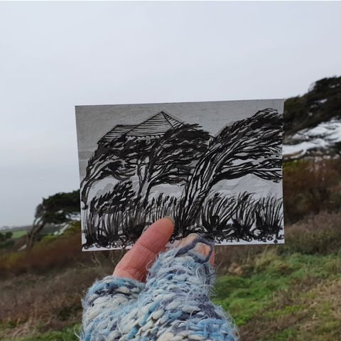#11,Polurrian,Trees,|,Postcard,Project,polurrian, original art, affordable art, mini art, postcard art, the lizard, art project, cornwall, artist, cornish art, poltesco